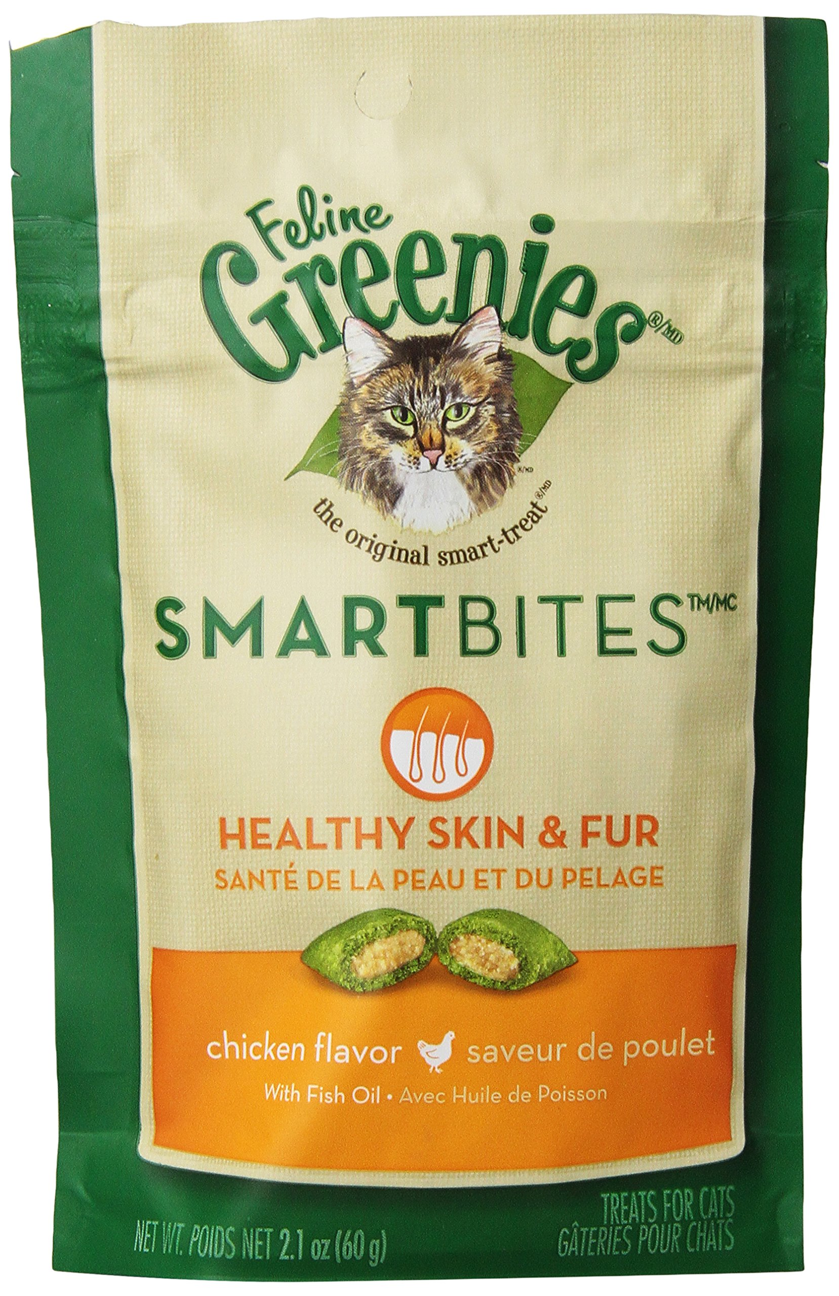 FELINE GREENIES 6-Pack Feline Smart Bites Treat, Skin and Fur Chicken, 2.1-Ounce