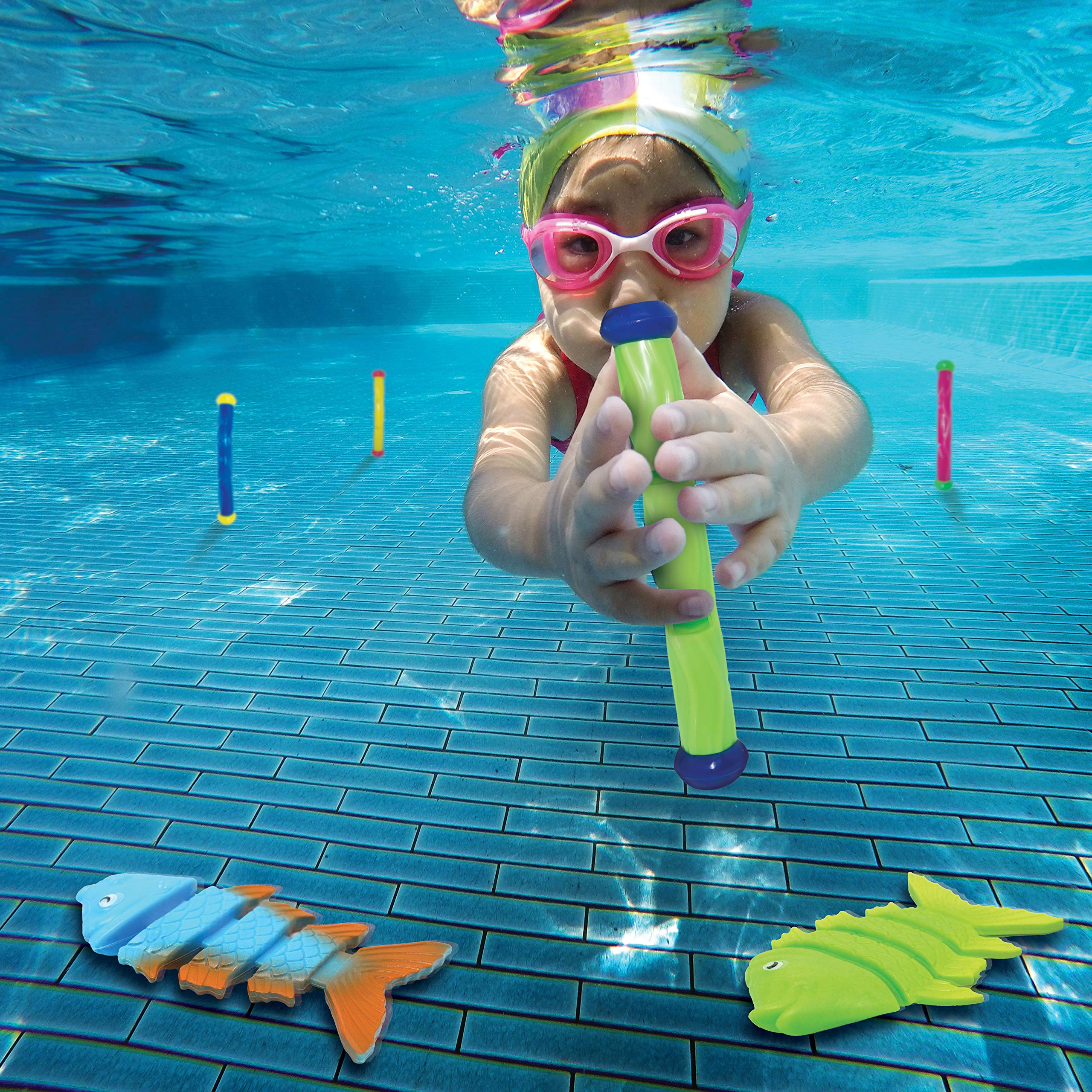 JOYIN 30 Pcs Diving Pool Toys Jumbo Set Includes (5) Diving Sticks, (6) Diving Rings, (5) Pirate Treasures, (4) Toypedo Bandits, (3) Diving Toy Balls, (3) Fish Toys, (4) Stringy Octopus by JOYIN (Image #3)