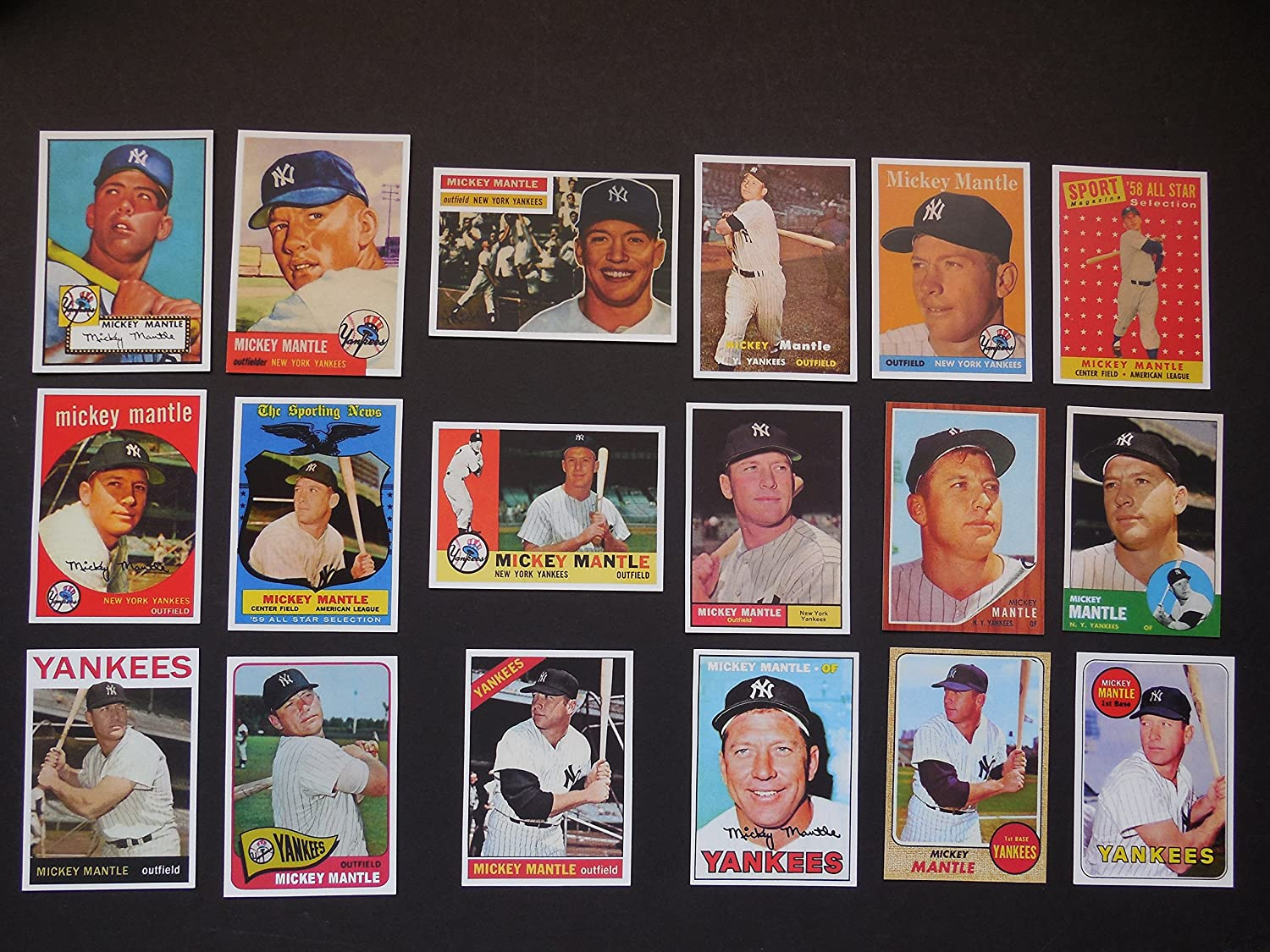 Mickey Mantle 18 Card Baseball Reprint Lot 7 Includes 1952 Rookie