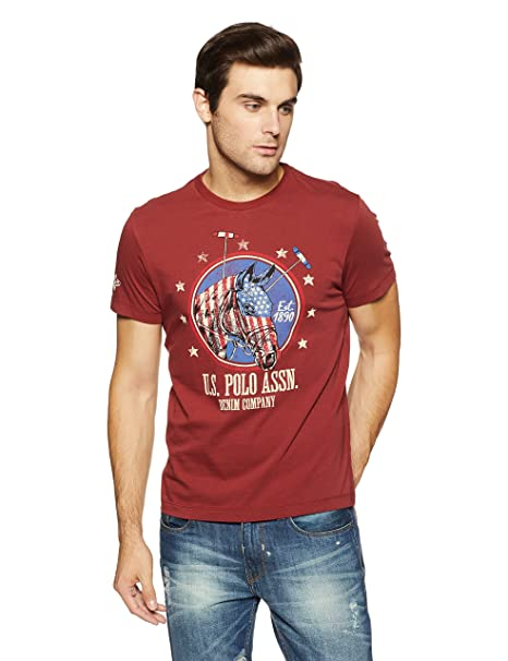 9626b9bc2 US Polo Men's Solid Regular Fit T-Shirt (UDTS0244_Russet Brown_M ...