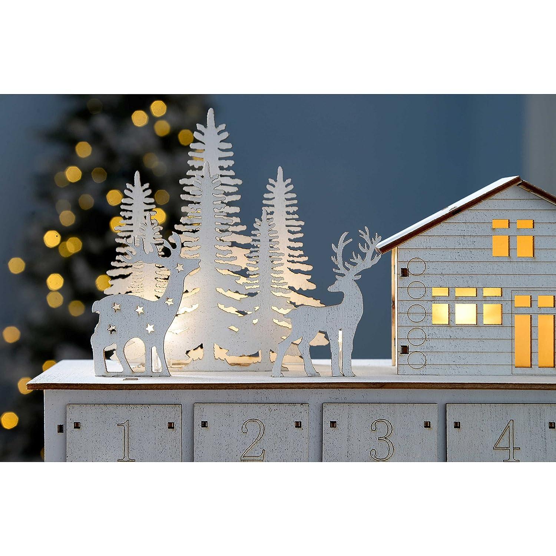 WeRChristmas Adventskalender Weihnachtsdekoration, Motiv  Weihnachtshaus, beleuchtet, beleuchtet, beleuchtet, Holz, 32 cm – Weiß 43df93