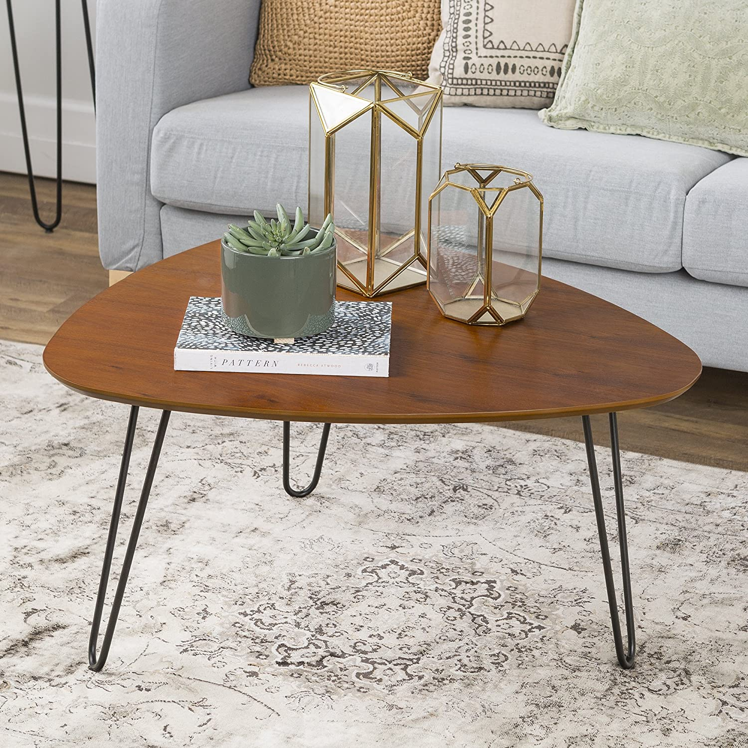 We Furniture 32 Hairpin Leg Wood Coffee Table Walnut