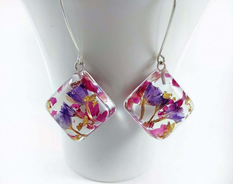 Set di gioielli con fiori veri in argento sterling collana pendente