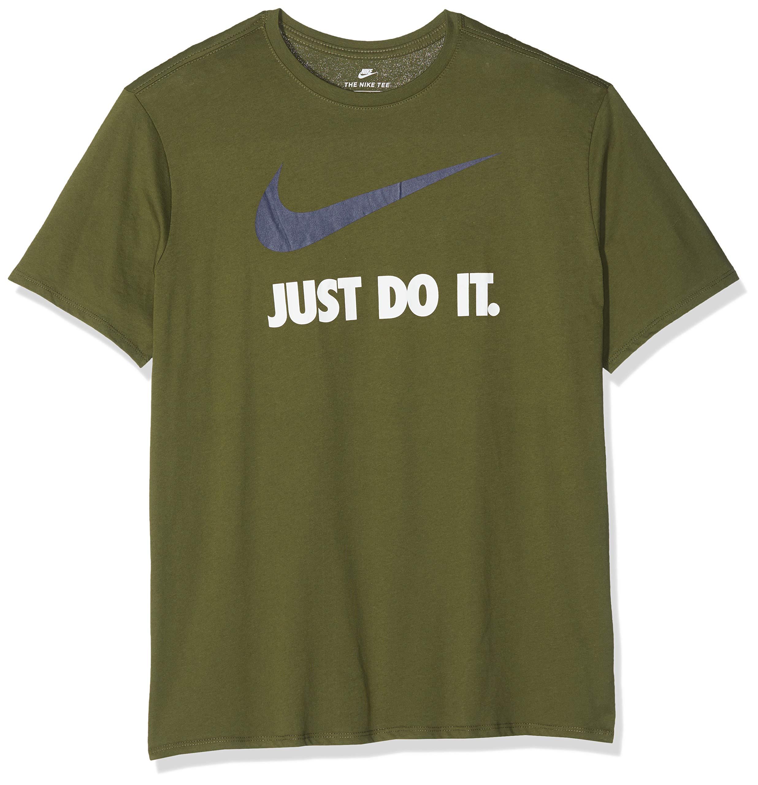 NIKE Men's Just Do It Swoosh T-Shirt (Olive Canvas/Obsidian, M)
