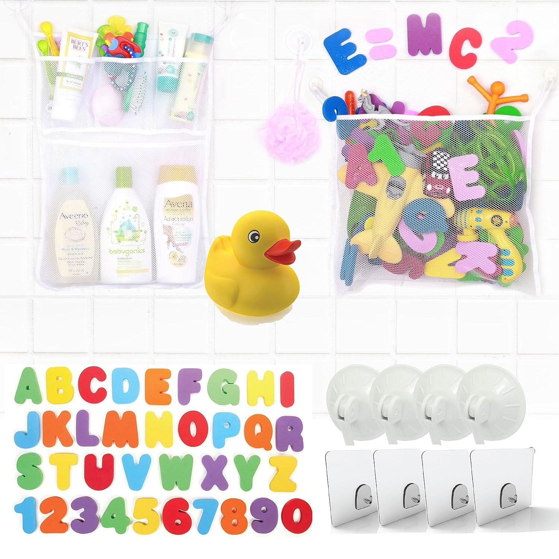 Amazon.com : 2 Tub Cubby Bath Toy Organizers + 37 Foam Letters + ...
