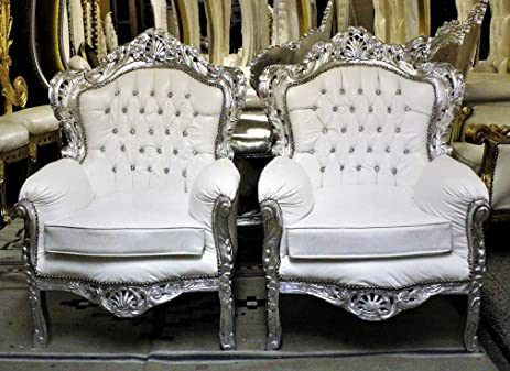 Pair Of Alexa White Sofa Throne Chairs Hand Carved Frame With Silver Leaf    Tufted Creme