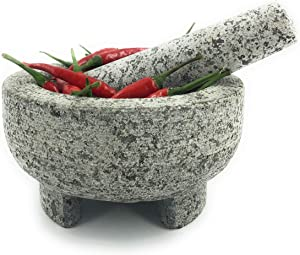 Kitch America | Mortar and Pestle - Heavy Unpolished Granite Stone for Grinding Spices, Seasonings, Pastes, and Guacamole - Extra Sturdy Stay In Place Base