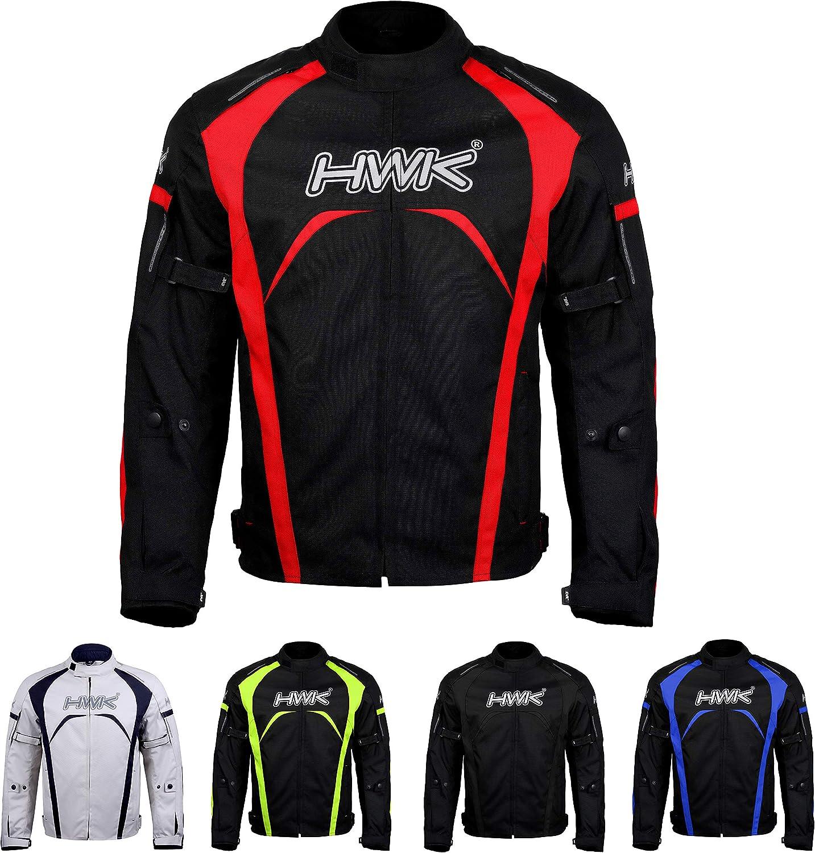 Motorcycle Jacket Men's Riding HWK Textile Racing Motorbike Hi-Vis Biker CE Armored Waterproof Jackets (Red, M): Automotive