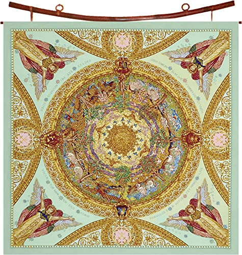 Scarf Women Fashion Headscarf Square with Stained Glass Inspired Art – Creation of the Birds Design