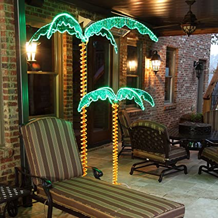 4.5u0027 Rope Light Palm Tree Tropical Yard And Patio Decor With Holographic  Trunk And Fronds