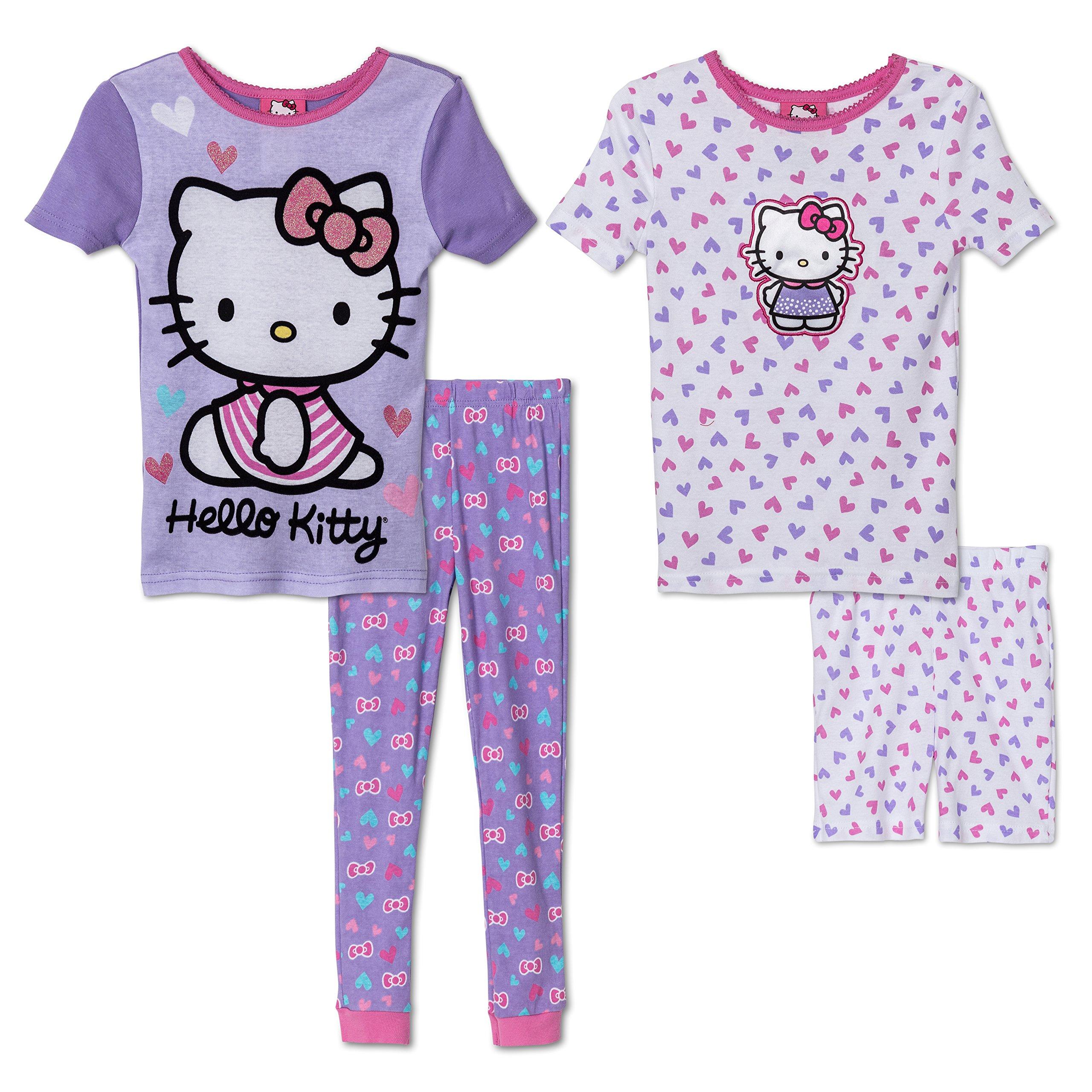 Komar Kids Girls 4 Piece Cotton Pajamas Sleepwear Set with Shorts and Pants (5, Hello Kitty Purple and Pink)