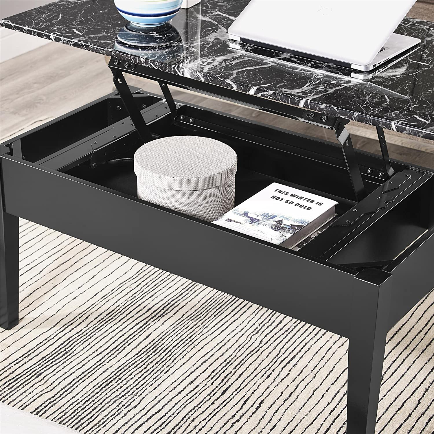 Amazon Dorel Living Faux Marble Lift Top Storage Coffee Table