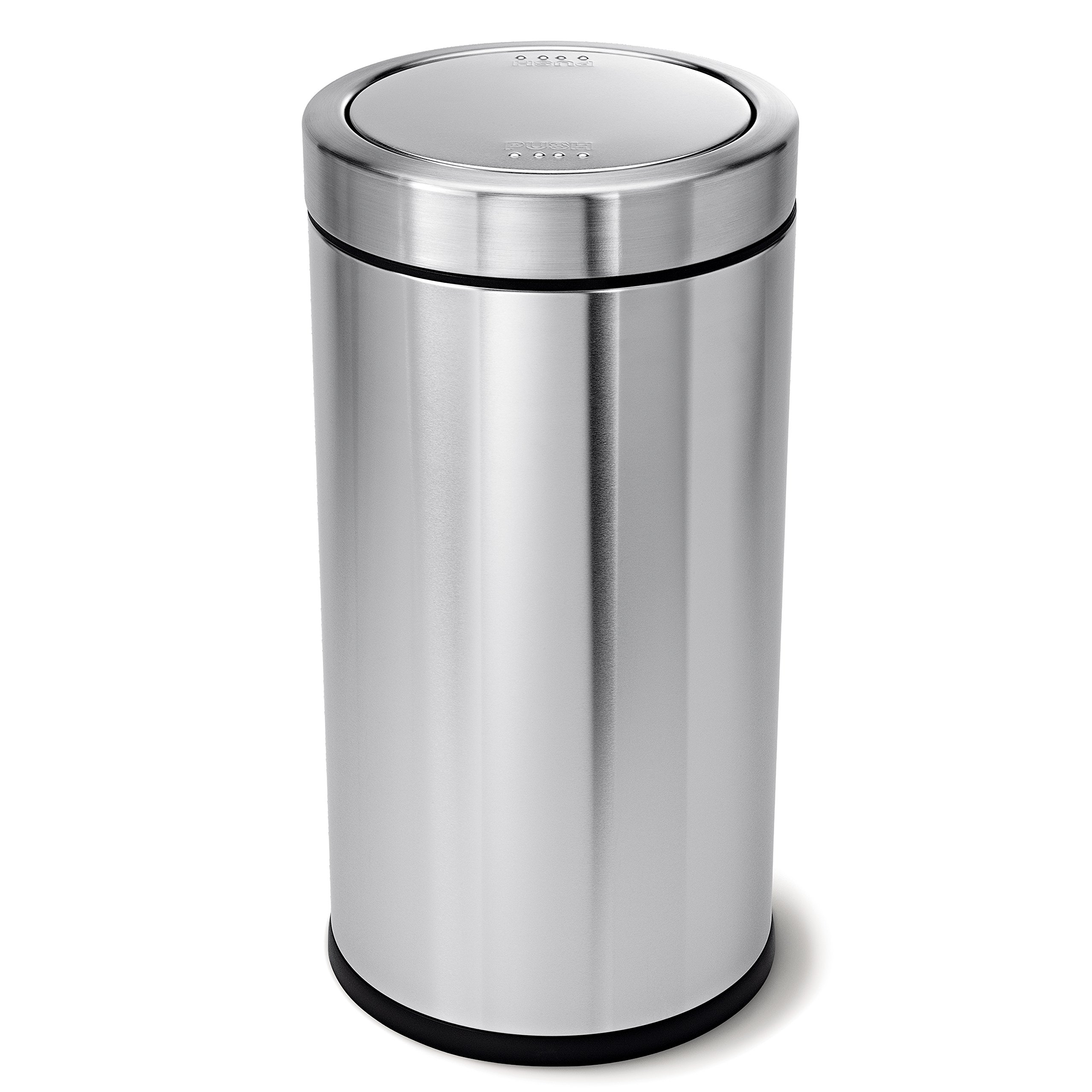 simplehuman Swing Top Trash Can, Commercial Grade, Stainless Steel, 55 L / 14.5 Gal by simplehuman