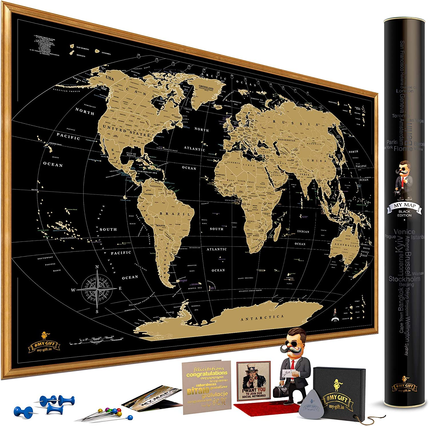 Scratch Off World Map Amazon.: MyMap Gold Scratch Off World Map Wall Poster with US