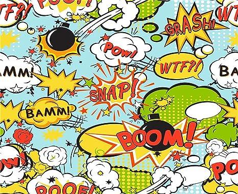 Laeacco Baby Boy Birthday Backdrop 8x6ft Vinyl Photography Background Cartoon Comic Boom Snap Bubbles Shower