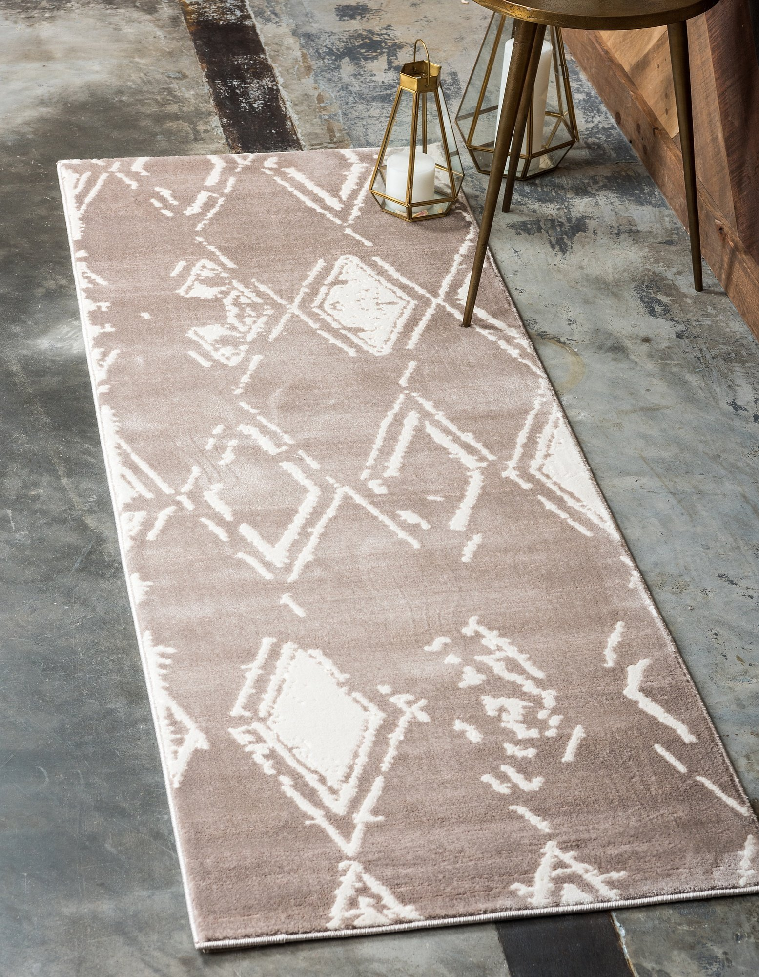 Modern Country Geometric 2 feet by 6 feet (2' x 6') Runner Uptown Collection by Jill Zarin Light Brown Contemporary Area Rug