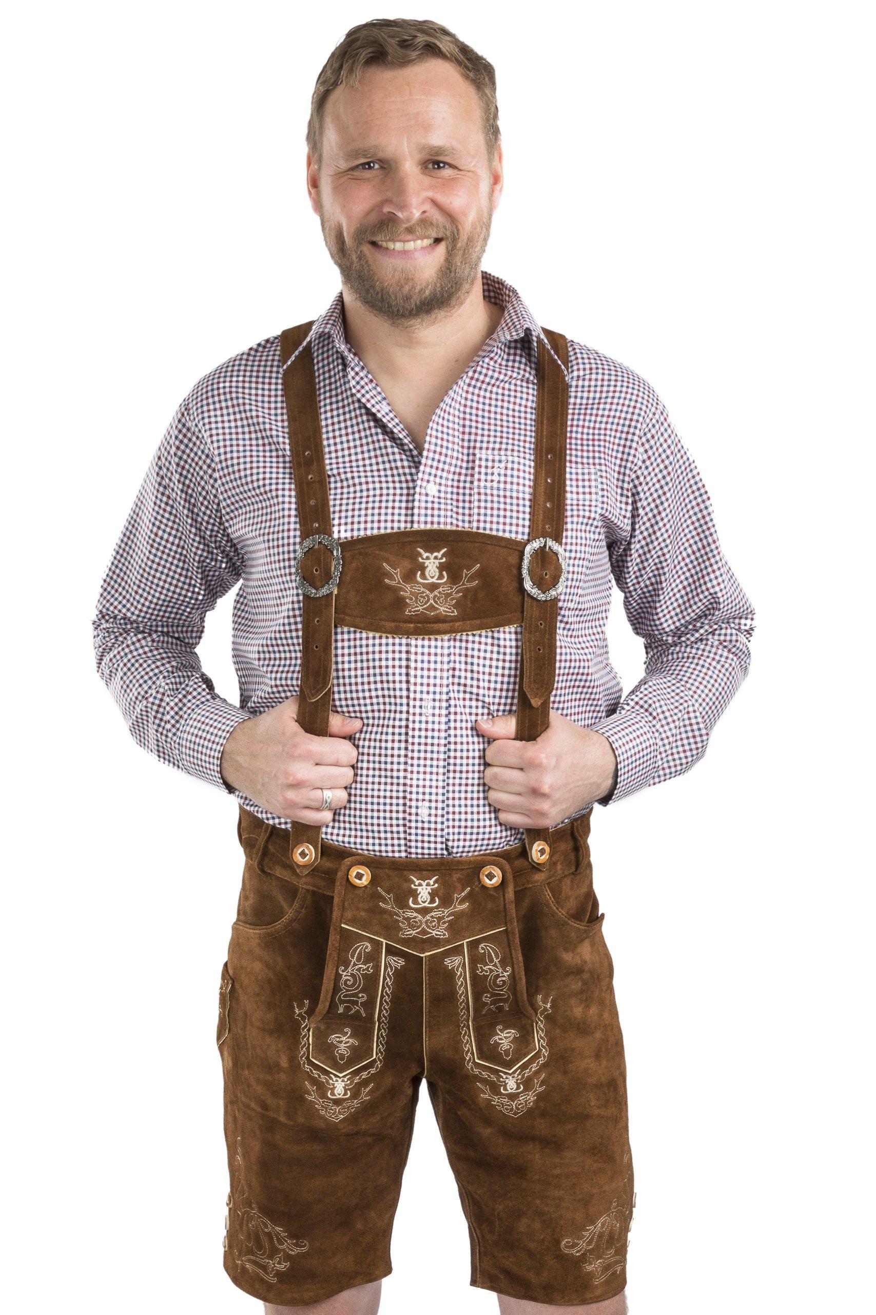 Men Alpenjäger Oktoberfest German Lederhosen Leather Shorts (36'', Medium Brown)