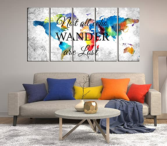 Amazon.com: World Map Canvas Wall Art, Not All Who Wander Are Lost ...