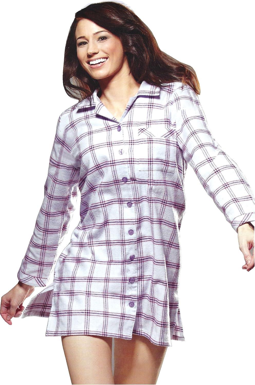 Nachthemd Damen Sleepshirt Flanell 100/% Baumwolle langarm kariert gestreift warm