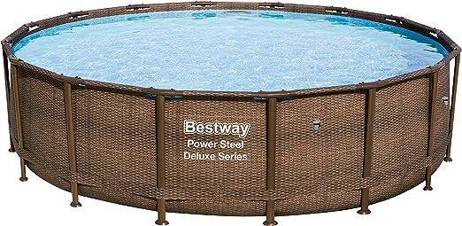 Bestway 56926 Power Steel Deluxe Series - Piscina de Exterior con Base, Estructura y Lino, Redonda, 488 x 122 cm, impresión de ratán: Amazon.es: Jardín
