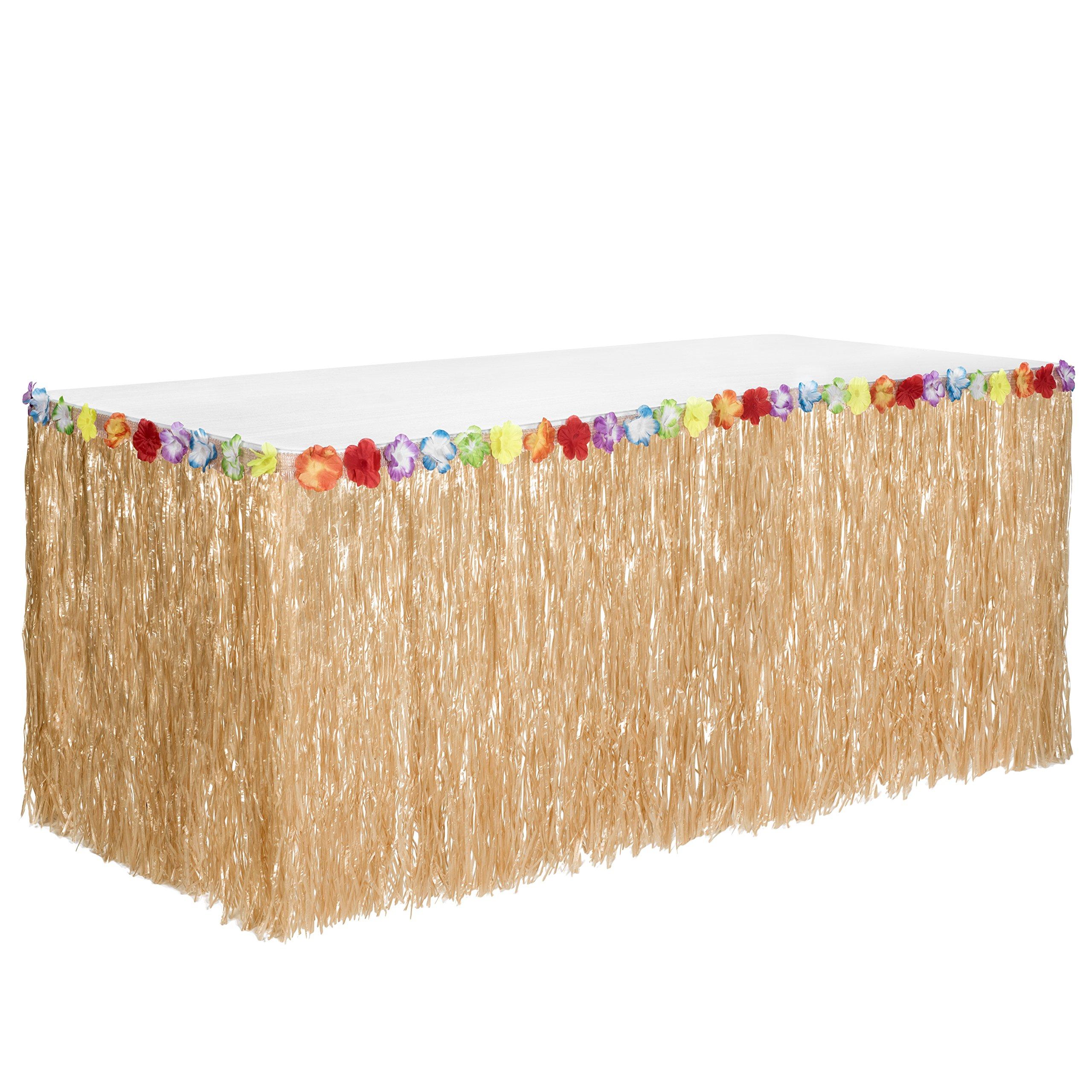 Hawaiian Luau Grass Table Skirt: BONUS 12 Hibiscus Flowers | Includes Adhesive | Perfect Beach, Tiki, Tropical, Island, Party, Luau Decoration 9ft by Luau Essentials (Image #7)
