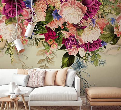 Amazon Com Murwall Floral Wallpaper Vintage Pink Flower Wall Mural Peony Blossom Wall Print Nordic Home Decor Cafe Design Living Room Bedroom Entryway Handmade