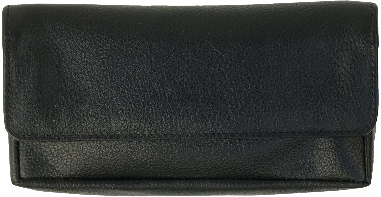 Soft Black Leather Tobacco Pouch//Case with Rubberised Lining