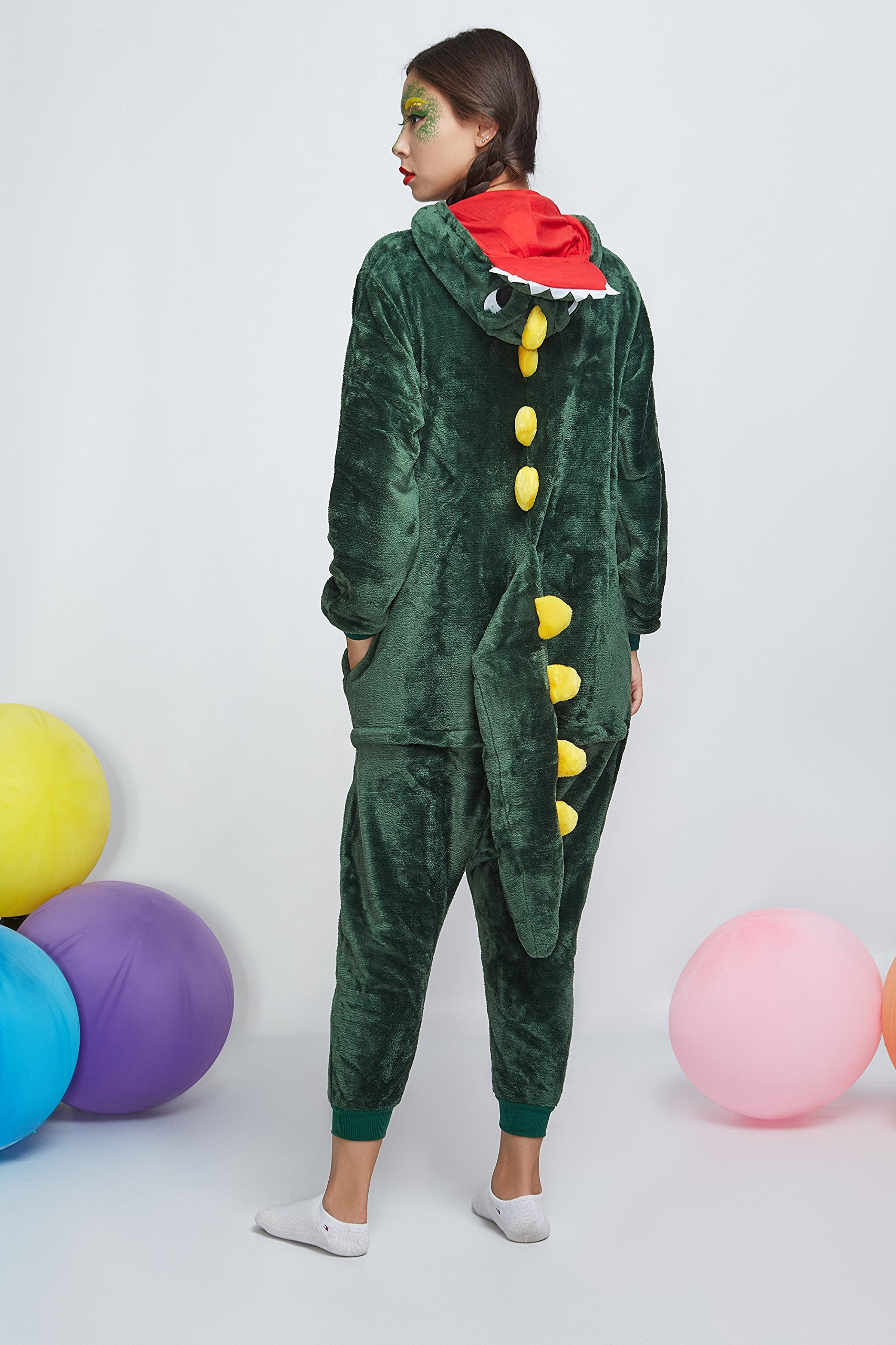 Adult Dragon Kigurumi Animal Onesie Pajamas Plush Onsie One Piece Cosplay Costume (Small, Green) by Nothing But Love (Image #2)