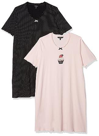 bfdd6e948b8100 Ulla Popken Große Größen Damen Nachthemd Big-Shirt 2er Pack: Ulla Popken:  Amazon.de: Bekleidung