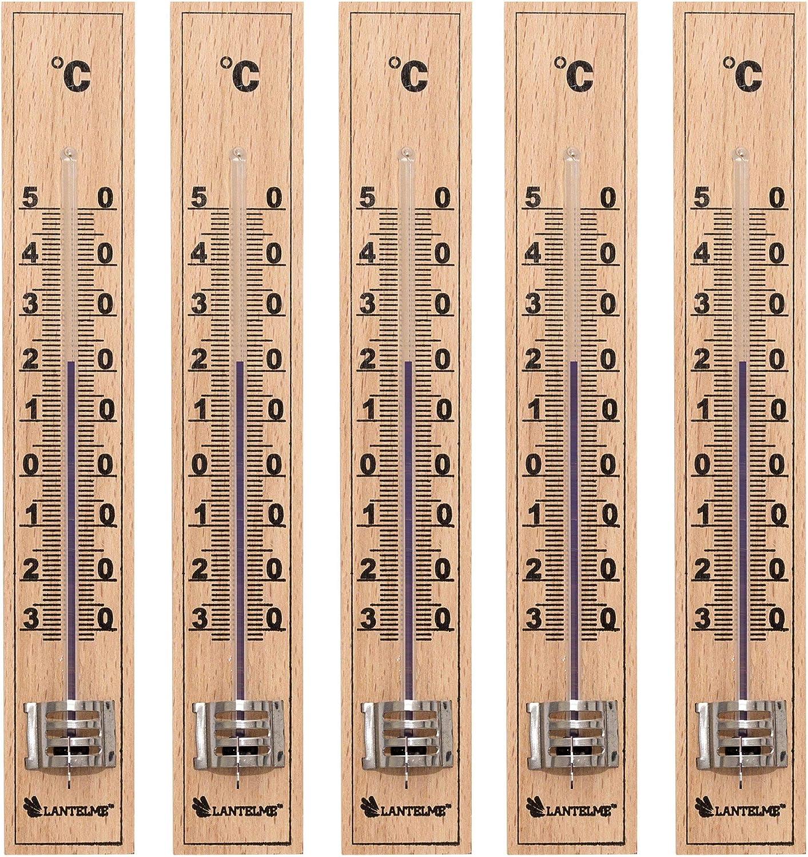 Lantelme 5 Stück Holz Thermometer Deutsche Herstellung Aus Buchenholz Analog Auch Für Außen Garten Und Innen 4852 Garten