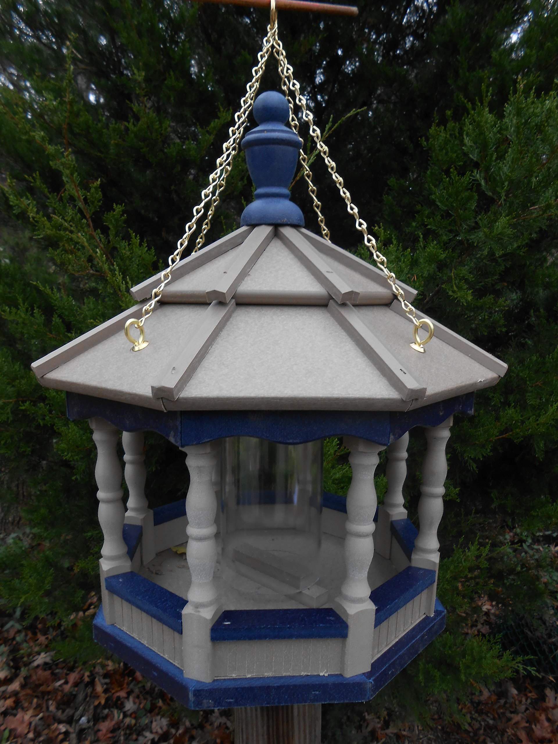Hanging Poly Bird Feeder Amish Gazebo Handcrafted Homemade Clay & Blue