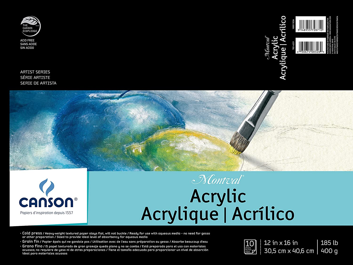 Fold Over Canson Artist Series Montval Acrylic Pad 16 x 20 Inch Sized Heavyweight No-Buckle Paper 185 Pound 10 Sheets