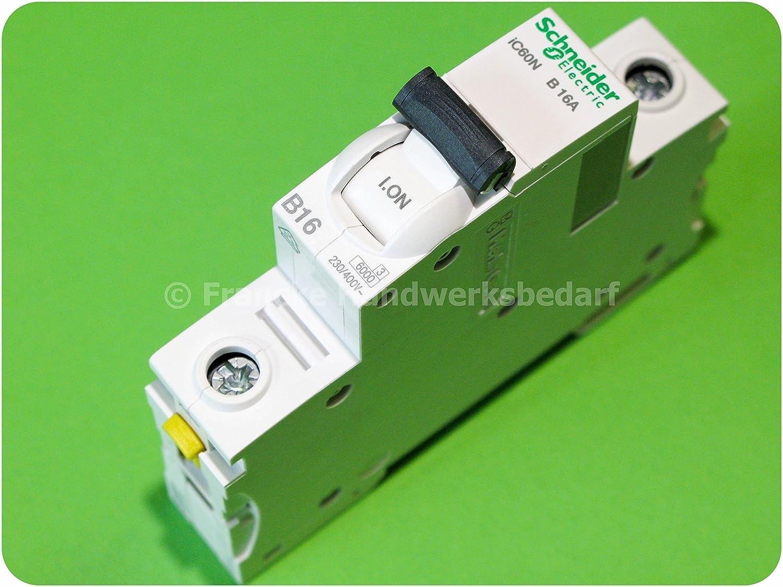 Schneider A9F03116 Leitungsschutzschalter iC60N, 1P, 16A, B Charakteristik, Weiß