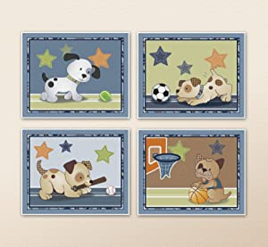 """Bow Wow Puppy Buddies. Dogs and Sports Nursery Wall Art Prints (8""""x10"""", (4) Set of Four)"""