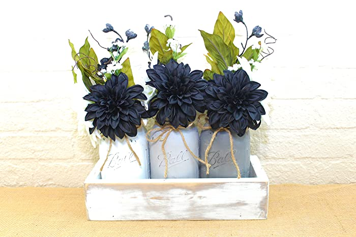Amazon black and white quart mason jar planter box flower black and white quart mason jar planter box flower arrangement centerpiece mightylinksfo