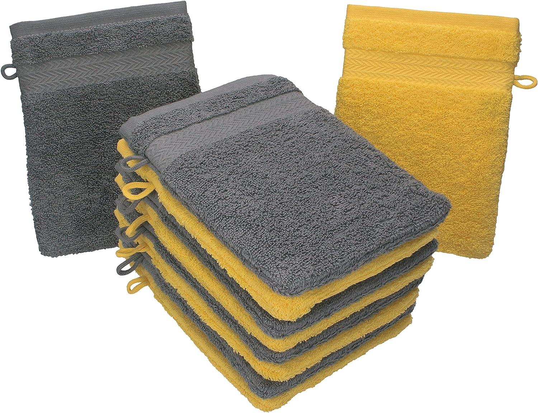 Betz Lot de 10 Gants de Toilette Taille 16x21 cm 100/% Coton Premium Couleur Jaune Gris Anthracite