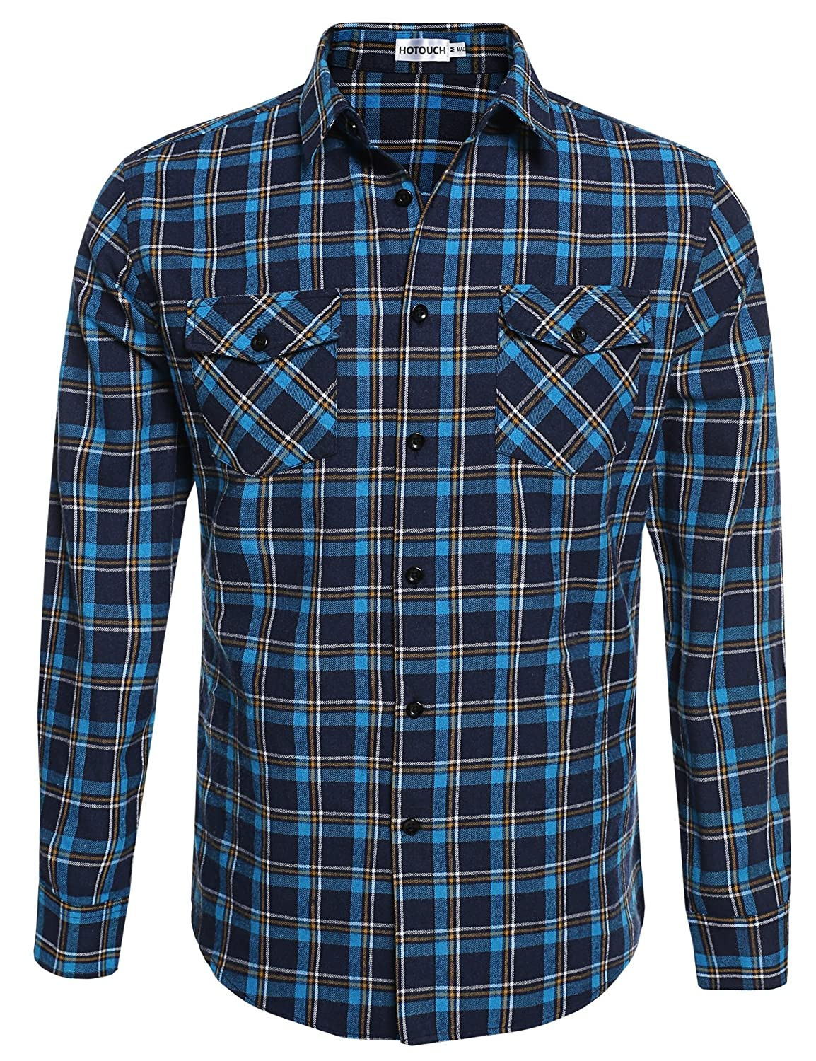 HOTOUCH Mens Flannel Long Sleeve Casual Button-Down Shirts