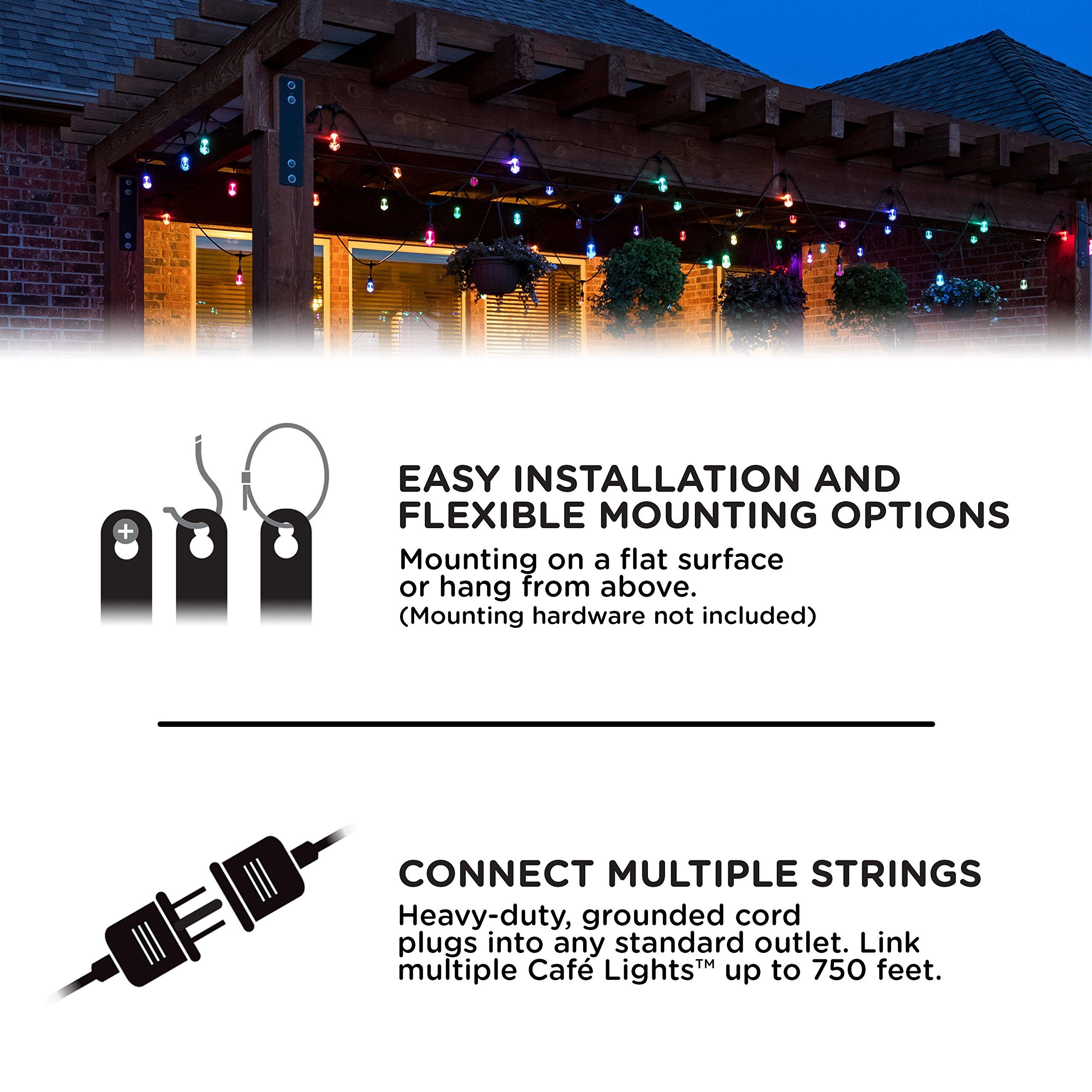 Enbrighten 37790 Vintage Seasons LED Warm White & Color Changing Café String Lights, Black, 48ft, 24 Premium Impact Resistant Lifetime Bulbs, Wireless, Weatherproof, Indoor/Outdoor, 48 ft, by Enbrighten (Image #8)