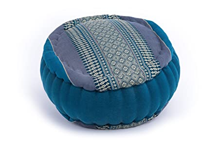 Zafu Meditation Pouf Round Cushion Skyblue With Kapok Filling Classy Pouf Filling