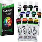 U.S. Art Supply 12ml Premium Vivid Acrylic Artist Aluminum Tube Paint Set (12-Colors)