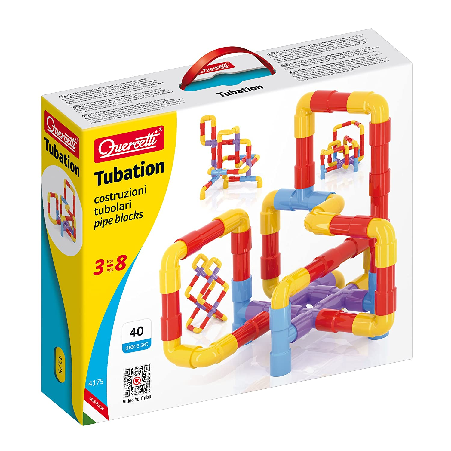 Quercetti Tubation - 40 Piece Interlocking Pipeline Maze Building Set - Open Ended Construction Toy for Ages 3 and Up (Made in Italy) Review