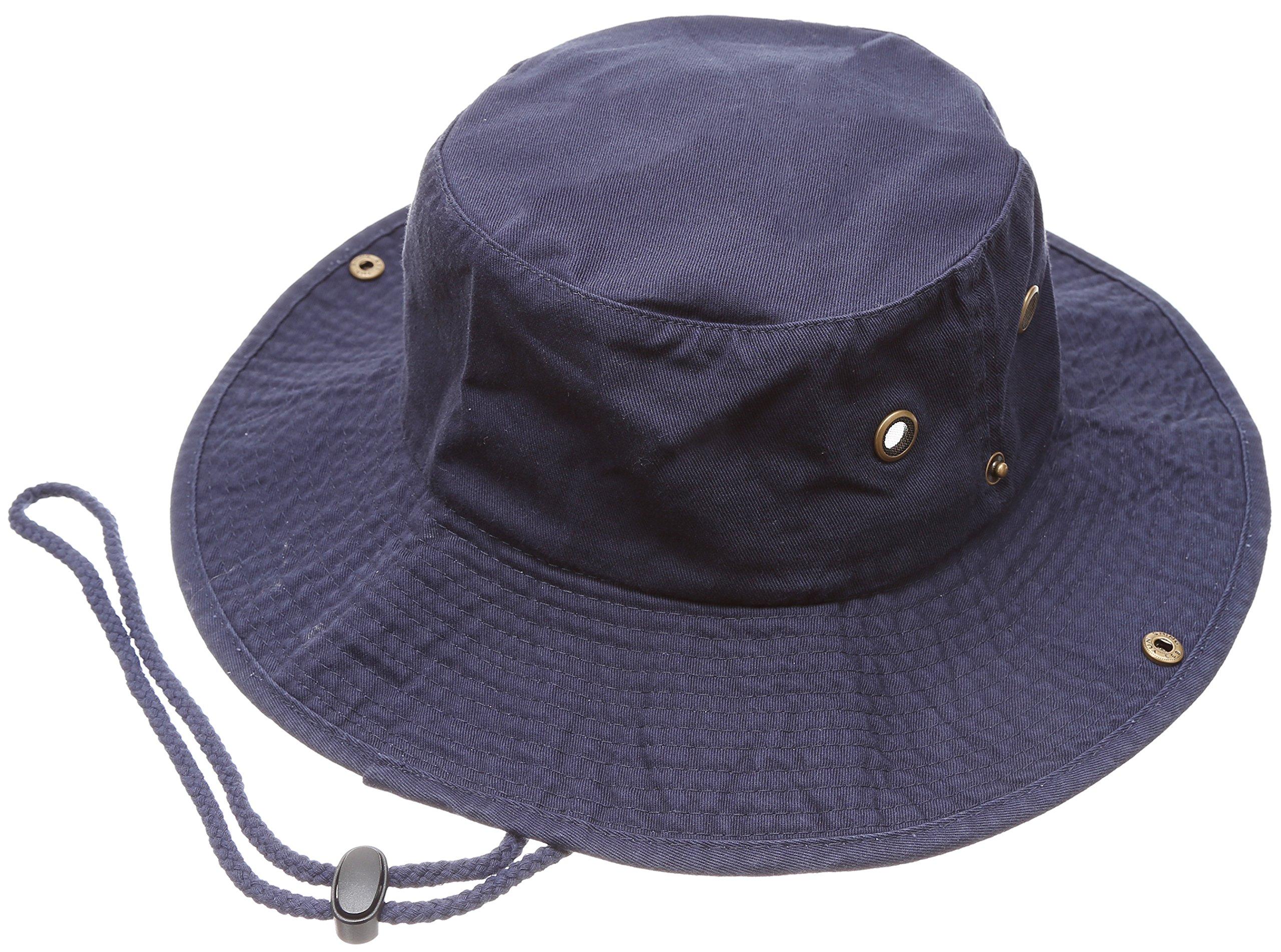 MIRMARU Summer Outdoor Boonie Hunting Fishing Safari Bucket Sun Hat with Adjustable Strap (Navy,SM)
