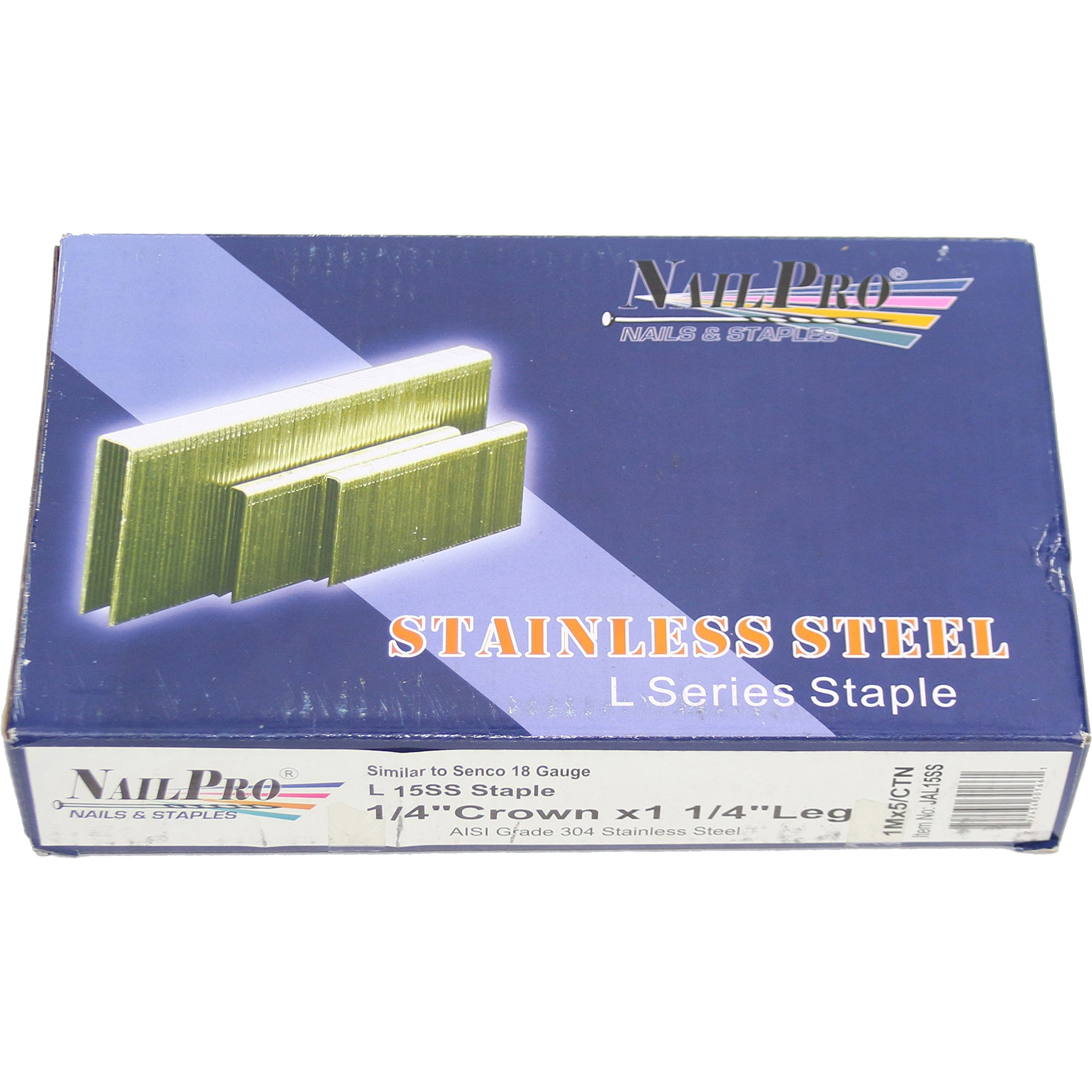 NailPro 1/4'' Crown x 1-1/4'' Leg Stainless Steel - 5,000 pcs. of ''L Series'' Staples - JAL15SS