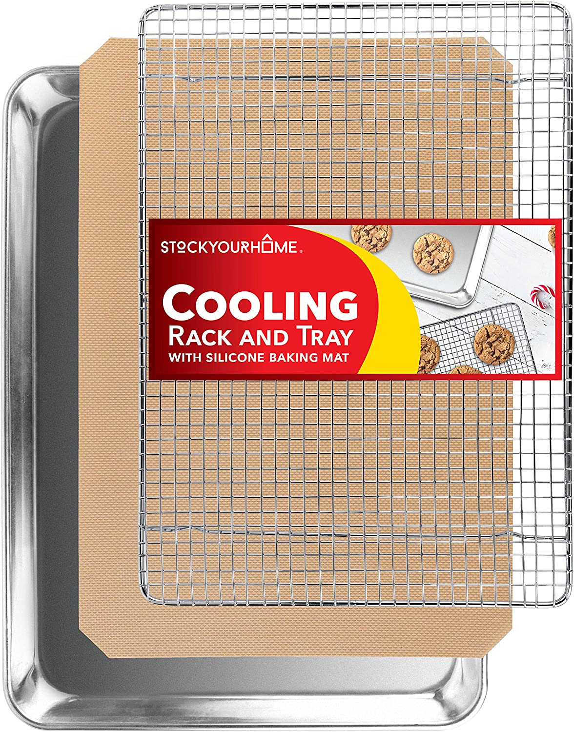 Stock Your Home Aluminum Sheet Pan Cooling Rack and Silicone Mat 3 Piece Baking Set – Stainless Steel Cooling Rack for Baking and Cooking