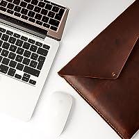 Funda De Piel Café Claro Para Macbook Pro Touch Bar, Pro Retina 12 13 15 Pulgadas, Estuche, Folio De Apple Para Hombre. Monograma Personalizado. Regalo De Cumpleaños Y Aniversario // Slant 2TAN