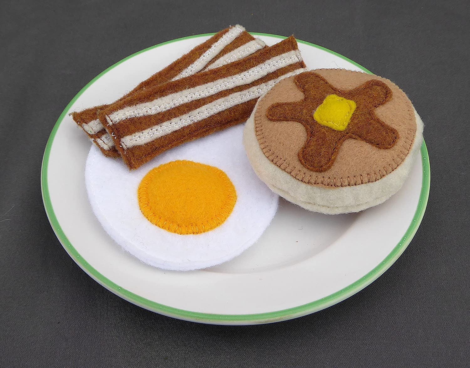 Felt Food Breakfast set, Bacon, Eggs and Pancake