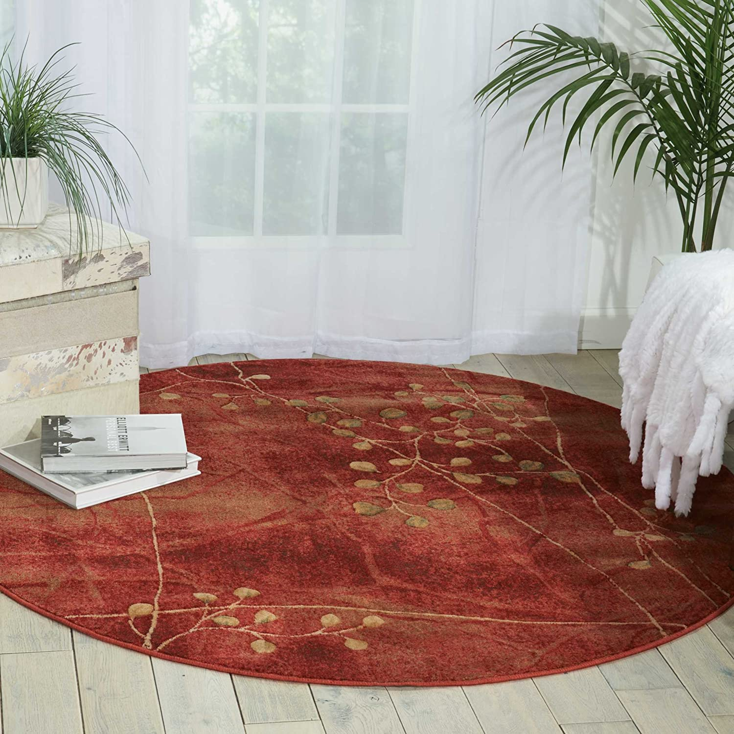 Flame 5'6 x ROUND Nourison Somerset Multicolor Runner Area Rug, 2-Feet 3-Inches by 8-Feet  (2'3  x 8')