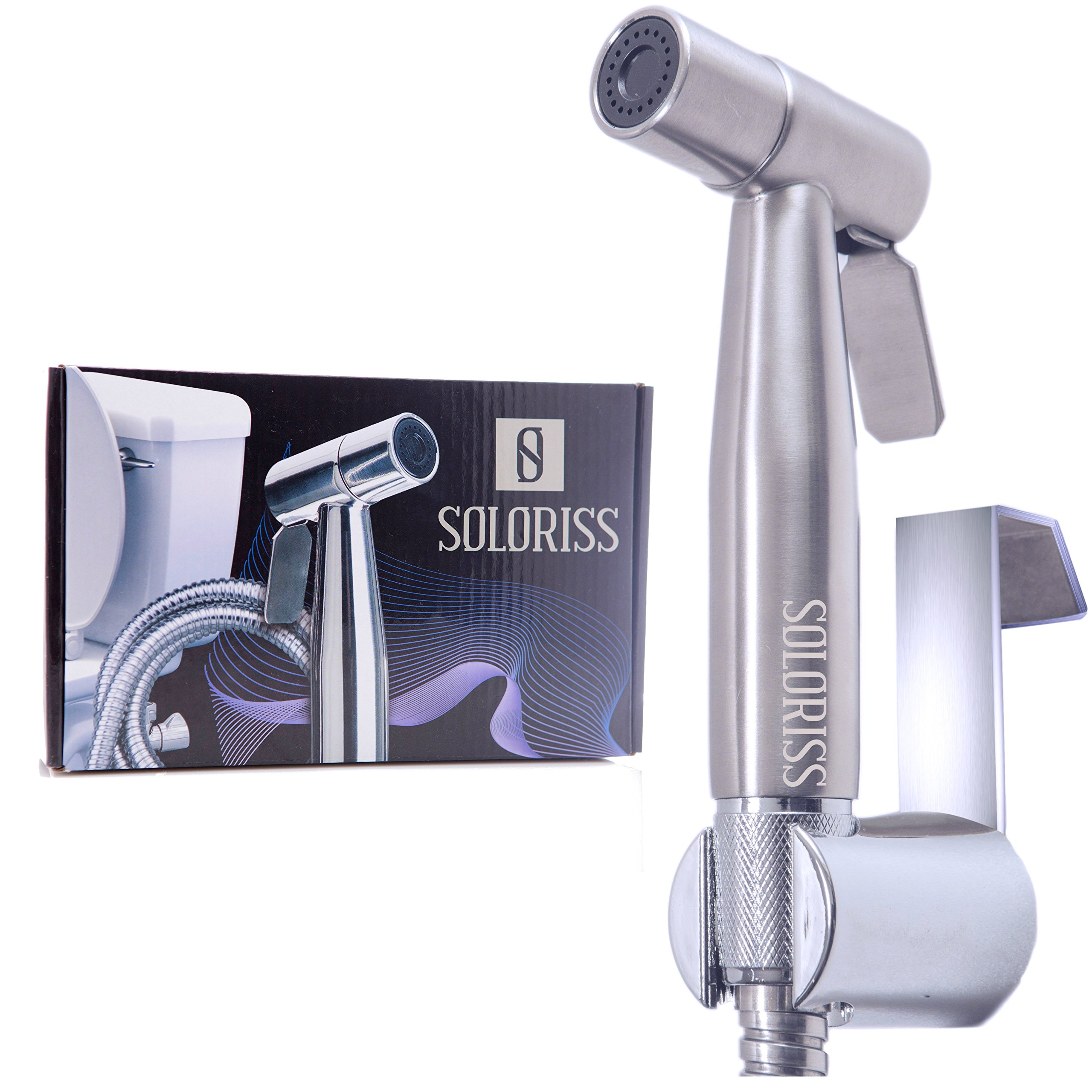 Original Cloth Diaper Sprayer with Adjustable Pressure Control by Soloriss - Stainless Steel Premium Hand Held Bidet and Diaper Sprayer for Toilet - Easy to Install and Use