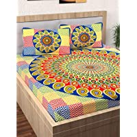 Story@Home 120 TC Pearl Collection Jaipuri Style Rajashtani Print Ethnic Block Print one Piece Queen Double Bed Bedsheet with 2 Pillow Covers