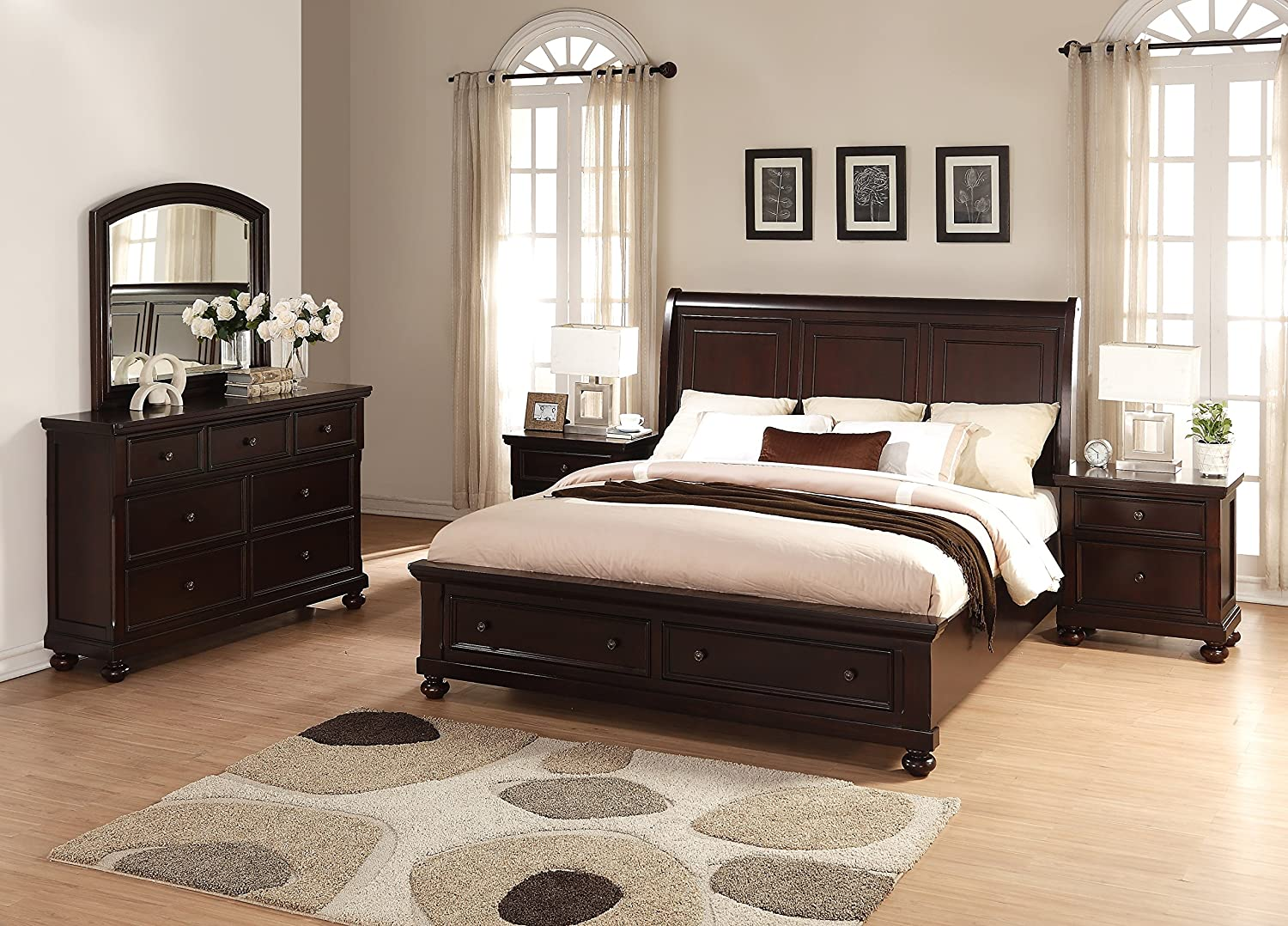 Amazon.com: Brishland Rustic Cherry Storage Bedroom set, Queen Bed ...